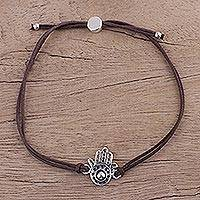 Sterling silver pendant bracelet, 'Brown Jali Hamsa' - Hamsa Amulet Sterling Silver Bracelet with Brown Cords