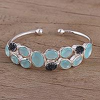 Chalcedony and drusy quartz cuff bracelet,