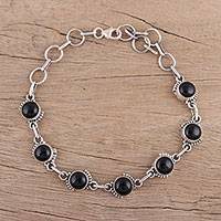 Onyx link bracelet, 'Charming Orbs' - Onyx and Sterling Silver Link Bracelet from India
