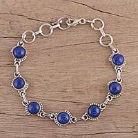 Lapis lazuli link bracelet, 'Charming Orbs' - Lapis Lazuli and Sterling Silver Link Bracelet from India