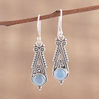 Chalcedony dangle earrings, 'Regal Peaks' - Pointed Chalcedony Dangle Earrings from India