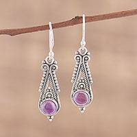 Amethyst dangle earrings, 'Regal Peaks' - Pointed Amethyst Dangle Earrings from India