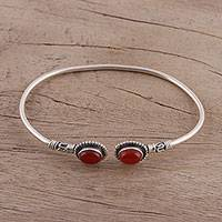 Carnelian cuff bracelet, 'Flaring Ovals' - Carnelian and Sterling Silver Cuff Bracelet from India