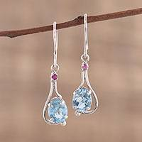 Rhodium plated blue topaz and ruby dangle earrings, 'Enthralling Sky' - Indian Blue Topaz and Ruby Sterling Silver Dangle Earrings