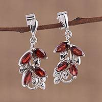 Garnet dangle earrings, 'Scarlet Charm' - Leaf Motif Garnet Dangle Earrings from India