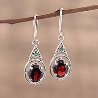 Garnet dangle earrings, 'Scarlet Joy' - Garnet and Emerald Dangle Earrings from India