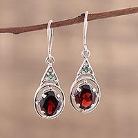 Garnet dangle earrings, 'Scarlet Joy' (India)