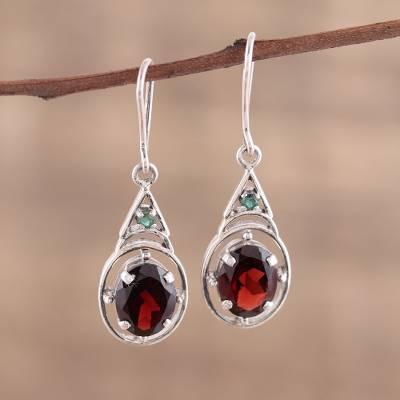Garnet dangle earrings, Scarlet Joy