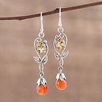 Carnelian and citrine dangle earrings, 'Glistening Sun' - Leaf Motif Carnelian and Citrine Dangle Earrings form India