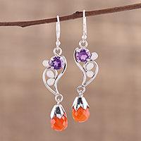 Carnelian and amethyst dangle earrings,