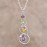Multi-gemstone pendant necklace Rainbow Palette (India)
