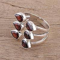 Garnet wrap ring, 'Scarlet Senary' - Handcrafted Garnet and Sterling Silver Wrap Ring from India