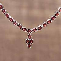 Garnet pendant necklace, 'Extravagance' - 16 Carat Garnet Pendant Necklace with Sterling Silver