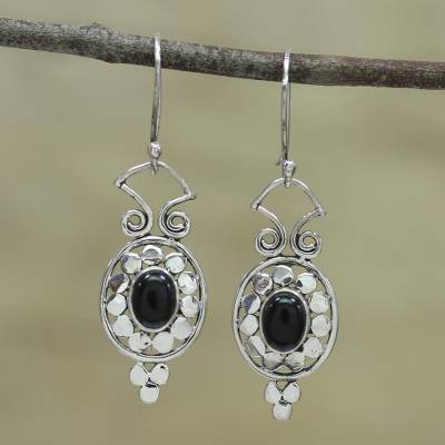 Onyx dangle earrings, 'Dot Calm' - Dot Motif Sterling Silver Earrings with Black Onyx