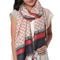 Silk shawl, 'Mahananda Motif' - Hand Woven Tussar Silk Shawl in Ecru, Red and Black