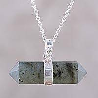 Labradorite pendant necklace, 'Crystal Energy' - Pendant Necklace with Labradorite and Sterling Silver
