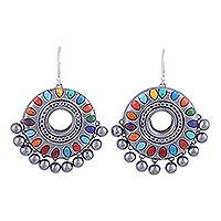 Ceramic dangle earrings, 'Festive Days' - Multicolored Ceramic Dangle Earrings on Sterling Hooks