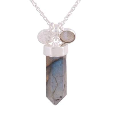 Labradorite and Sterling Silver Crystal Pendant necklace