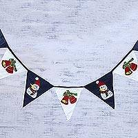 Cotton bunting, 'Cozy Holidays' - White and Navy Cotton Christmas Bunting from India