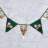 Cotton patchwork bunting, 'Festive Holidays' - Green and Beige Cotton Christmas Bunting from India