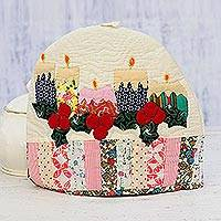 Quilted cotton tea cozy, 'Holiday Candles' - Candle Motif Patchwork Cotton Tea Cozy from India