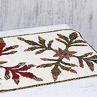 Cotton patchwork table runner, 'Leaves of Christmas' - Ivory Cotton Table Runner with Green and Red Leaves