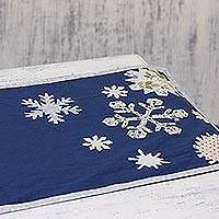 Cotton table runner, 'Snowfall' - Blue Snowflake Cotton Table Runner from India