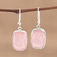 Rose quartz dangle earrings, 'Beloved Blush' - Rose Quartz and Sterling Silver Dangle Earrings from India