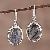 Labradorite dangle earrings, 'Darkening Sky' - Cabochon Labradorite and Silver Dangle Earrings