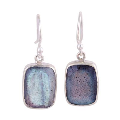 15 Carat Labradorite Earrings in Sterling Silver Bezels