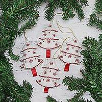 Cotton ornaments, 'Snowy Christmas' (set of 4) - Four Cotton Christmas Tree Ornaments in White from India