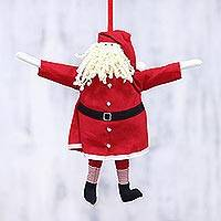 Cotton ornament, 'Coming to Town' - Handcrafted Cotton Santa Claus Ornament from India