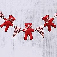 Cotton garland, 'Teddies and Hearts' - Teddy and Heart Motif Cotton Decorative Accent from India