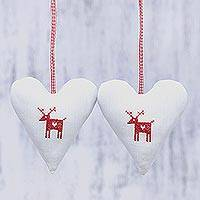Cotton ornaments, 'Snowy Reindeer' (pair) - Pair of Heart-Shaped Cotton Reindeer Ornaments from India