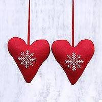 Cotton ornaments, 'Snowflake Hearts' (pair) - Two Handmade Heart-Shaped Cotton Ornaments in Red from India