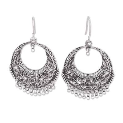 Sterling Silver Floral Dangle Earrings from India