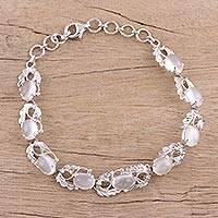 Rhodium plated moonstone link bracelet,