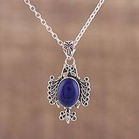 Lapis lazuli pendant necklace, 'Royal Plumage' - Oval Lapis Lazuli Pendant Necklace from India