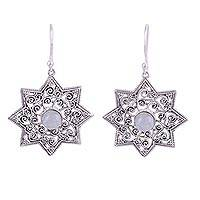 Rainbow moonstone dangle earrings, 'Mughal Stars' - Indian Rainbow Moonstone Dangle Earrings in Star Shapes