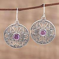 Amethyst dangle earrings, 'Shalimar Gardens' - Amethyst and Sterling Silver Jali Dangle Earrings from India