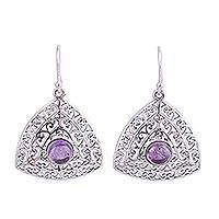 Amethyst dangle earrings, 'Jali Frieze' - Amethyst and Sterling Silver Indian Jali Dangle Earrings