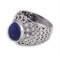 Lapis lazuli domed ring, 'Royal Jali' - Sterling Silver Jali and Lapis Lazuli Cocktail Ring