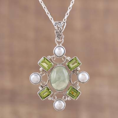Multi-gemstone pendant necklace, 'Alluring Style' - Peridot and Prehnite Pendant Necklace from India