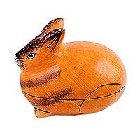 Papier mache decorative box, 'Orange Rabbit' - Hand-Painted Papier Mache Rabbit Decorative Box from India