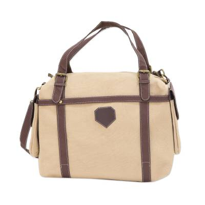 Beige Cotton Canvas Shoulder Bag with Adjustable Straps