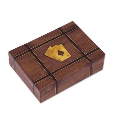 Indian Acacia Wood Card Holder with Two Card Decks