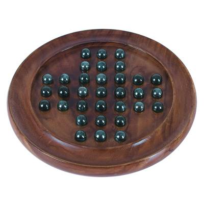 Acacia Wood Solitaire Marble Game from India