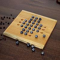 Teakwood solitaire game, 'Mind Power' - Teakwood and Glass Solitaire Game from India