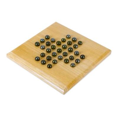 Teakwood and Glass Solitaire Game from India