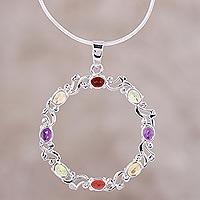 Rhodium plated multi-gemstone pendant necklace, 'Wreath of Colors' (India)